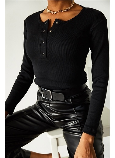 XHAN Siyah Patlı Kaşkorse Bluz 1Kxk2-44693-02 Siyah